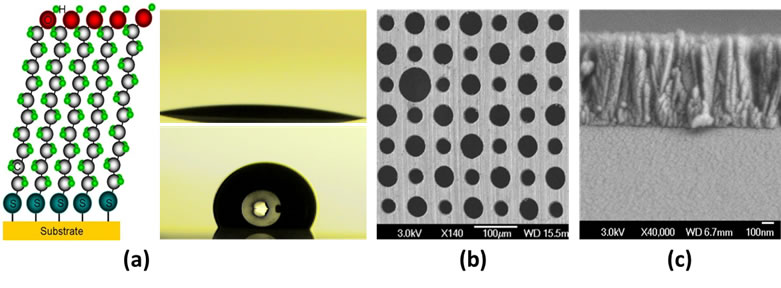 Surface control and device development based on MEMS/NEMS. (a) Mocular selef-assembled monolayer; (b)Top-down/etching:(c) bottom-up/deposition